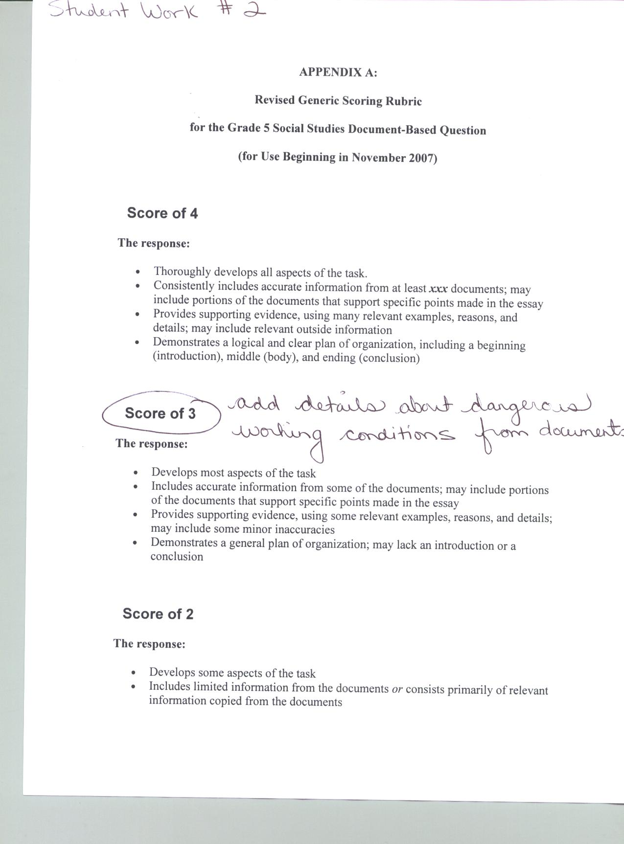 social studies thematic essay rubric  social studies thematic essay rubric