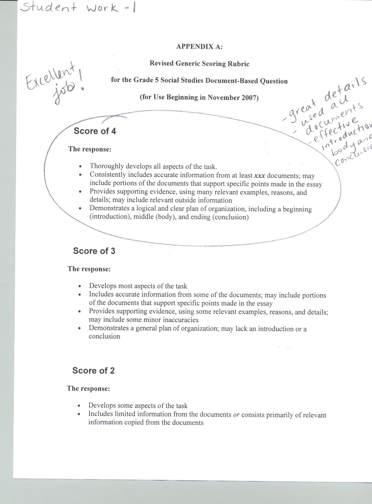 scoring student responses to essay questions Mcas student work/scoring guides this page provides access to each released essay item, constructed-response item, open-response item, and writing prompt included on the mcas tests from the last five years the scoring guide that accompanies each item and samples of student work at each score point for the item.