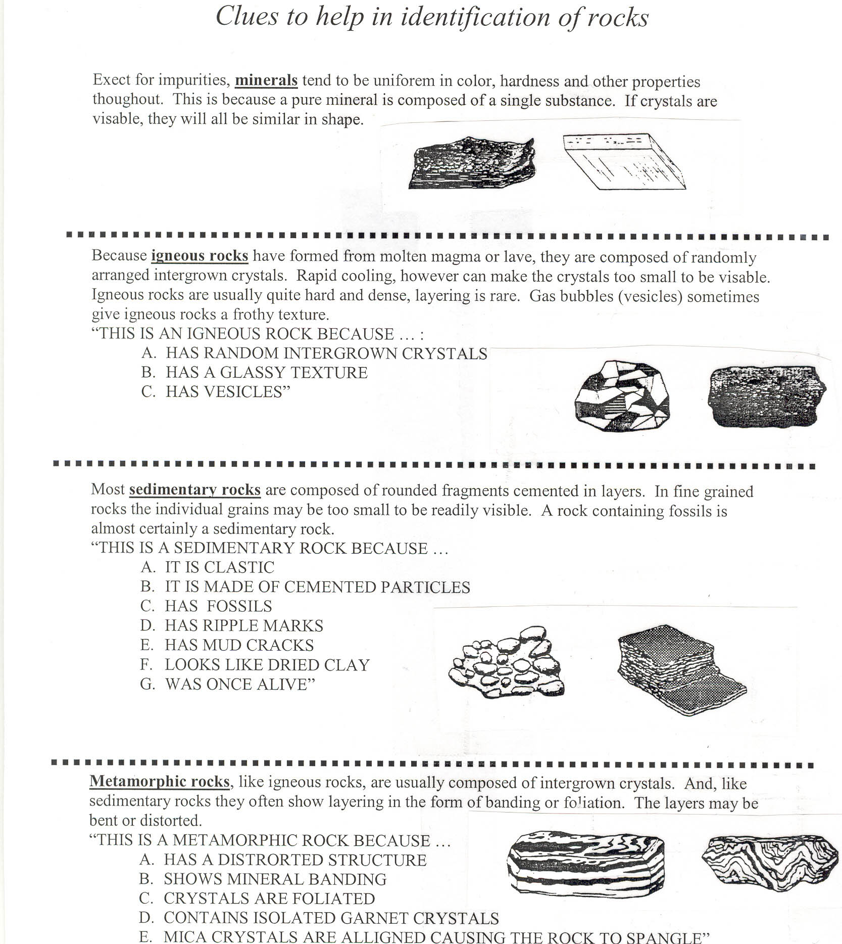 Rock Identification Worksheet Tecnologialinstante – Sedimentary Rock Worksheet